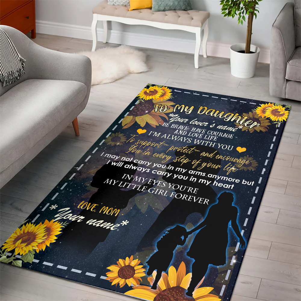 Personalized Floor Area Rugs To My Daughter To Support Protect And Encourage You In Every Step Of Your Life Pattern 1 Indoor Home Decor Carpets Suitable For Children Living Room Bedroom Birthday Christmas Aniversary