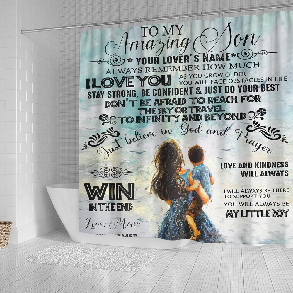 Personalized Shower Curtain 71 X 71 Inch To My Amazing Son My Litte Boy Pattern 2 Set 12 Hooks Decorative Bath Modern Bathroom Accessories Machine Washable