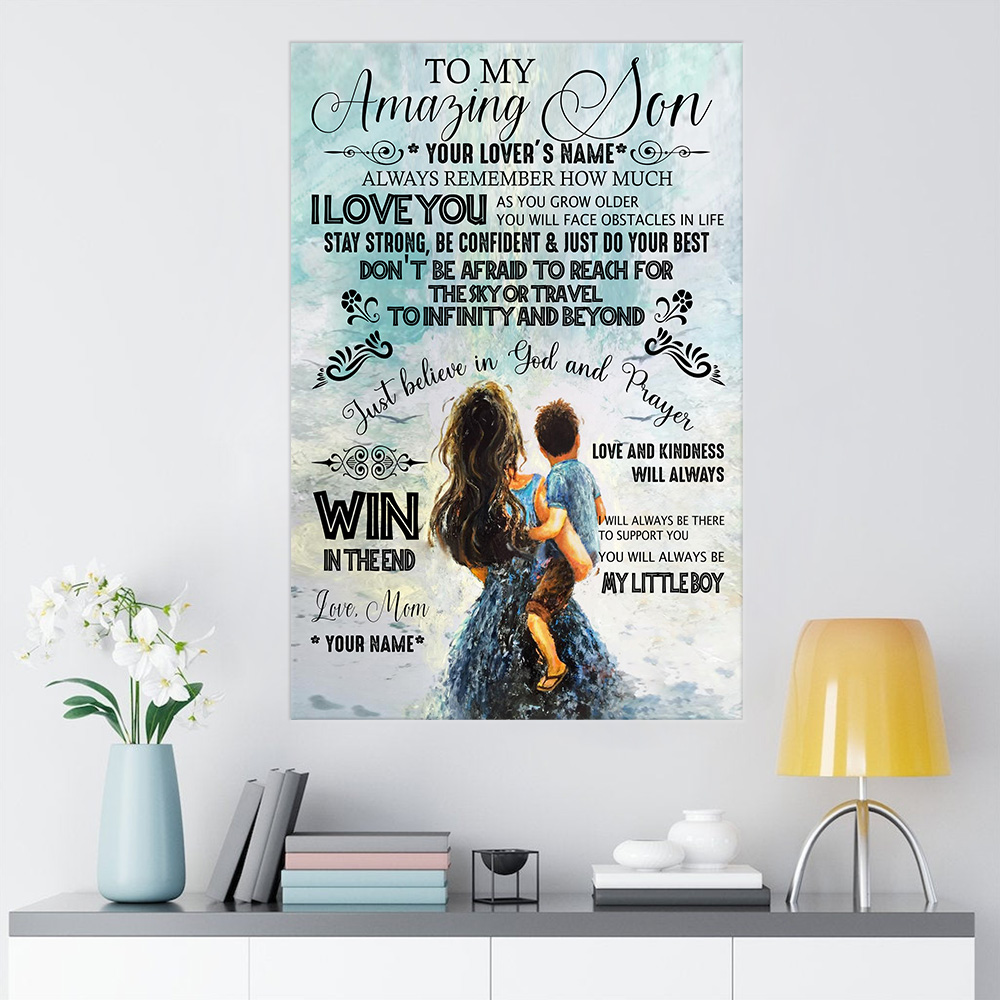 Personalized Wall Art Poster Canvas 1 Panel To My Amazing Son My Litte Boy Pattern 2 Great Idea For Living Home Decorations Birthday Christmas Aniversary