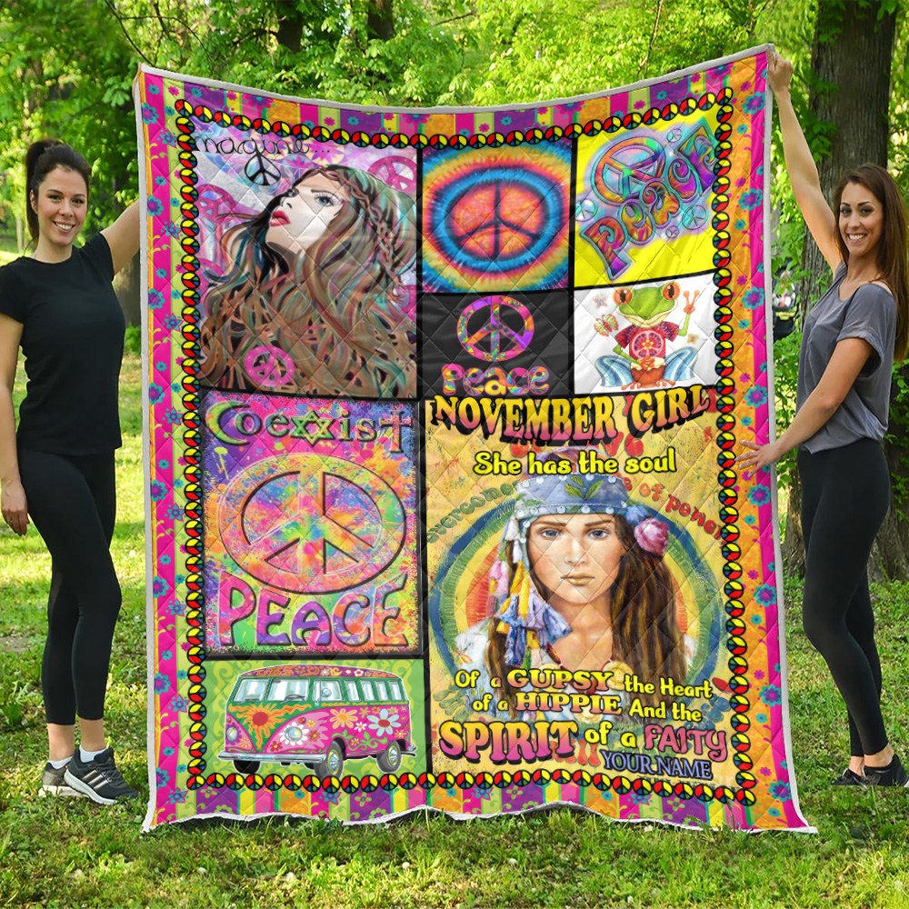 Personalized Quilt Throw Blanket November Girl She Has The Soul , The Heart And The Spirit Of A Fairy Pattern 1 Lightweight Super Soft Cozy For Decorative Couch Sofa Bed