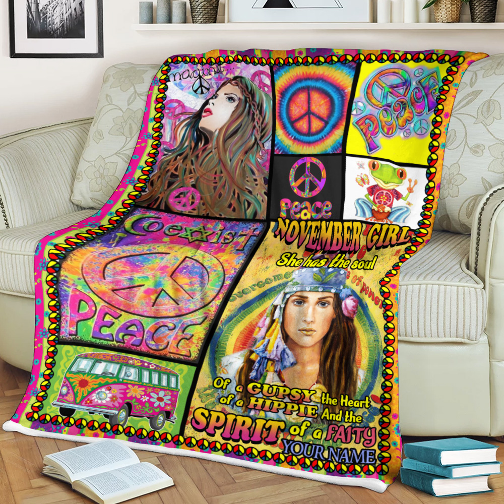 Personalized Fleece Throw Blanket November Girl She Has The Soul , The Heart And The Spirit Of A Fairy Pattern 1 Lightweight Super Soft Cozy For Decorative Couch Sofa Bed
