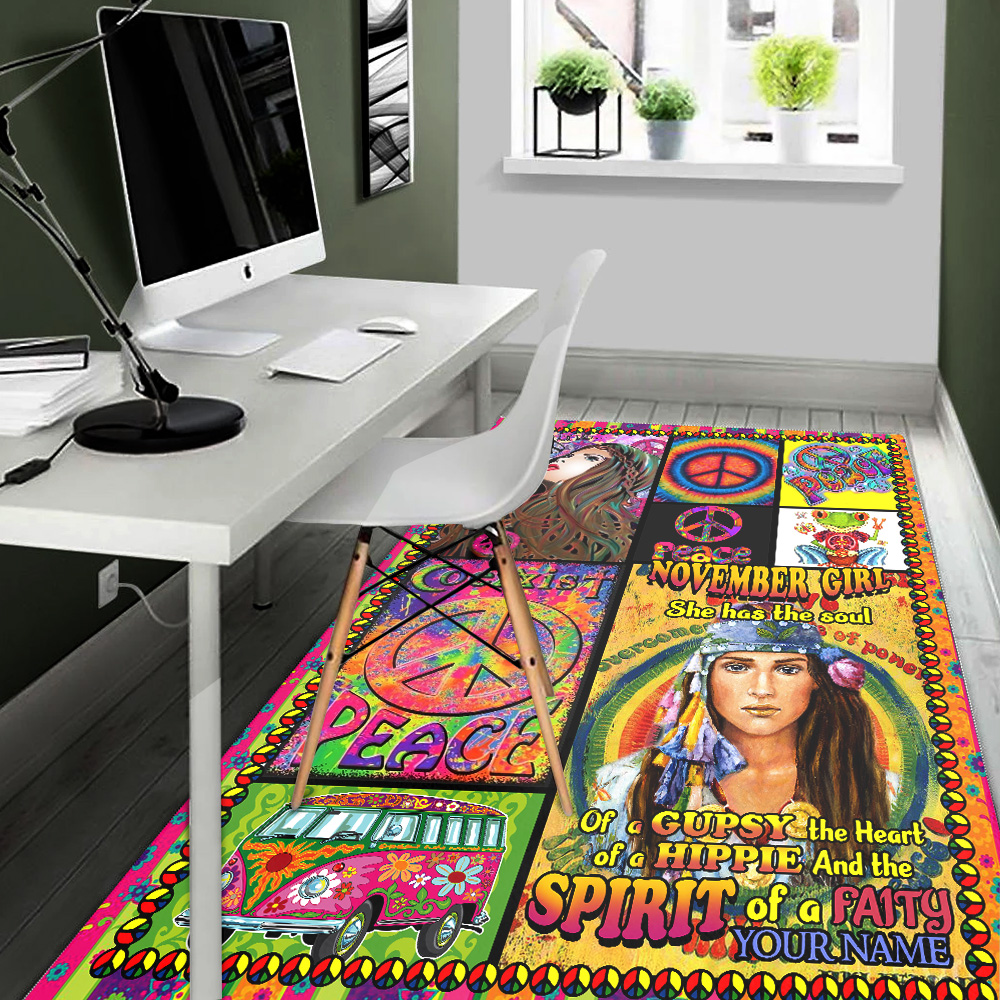 Personalized November Girl She Has The Soul , The Heart And The Spirit Of A Fairy Pattern 1 Vintage Area Rug Anti-Skid Floor Carpet For Living Room Dinning Room Bedroom Office