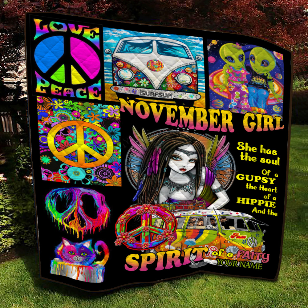 Personalized Quilt Throw Blanket November Girl She Has The Soul , The Heart And The Spirit Of A Fairy Pattern 2 Lightweight Super Soft Cozy For Decorative Couch Sofa Bed