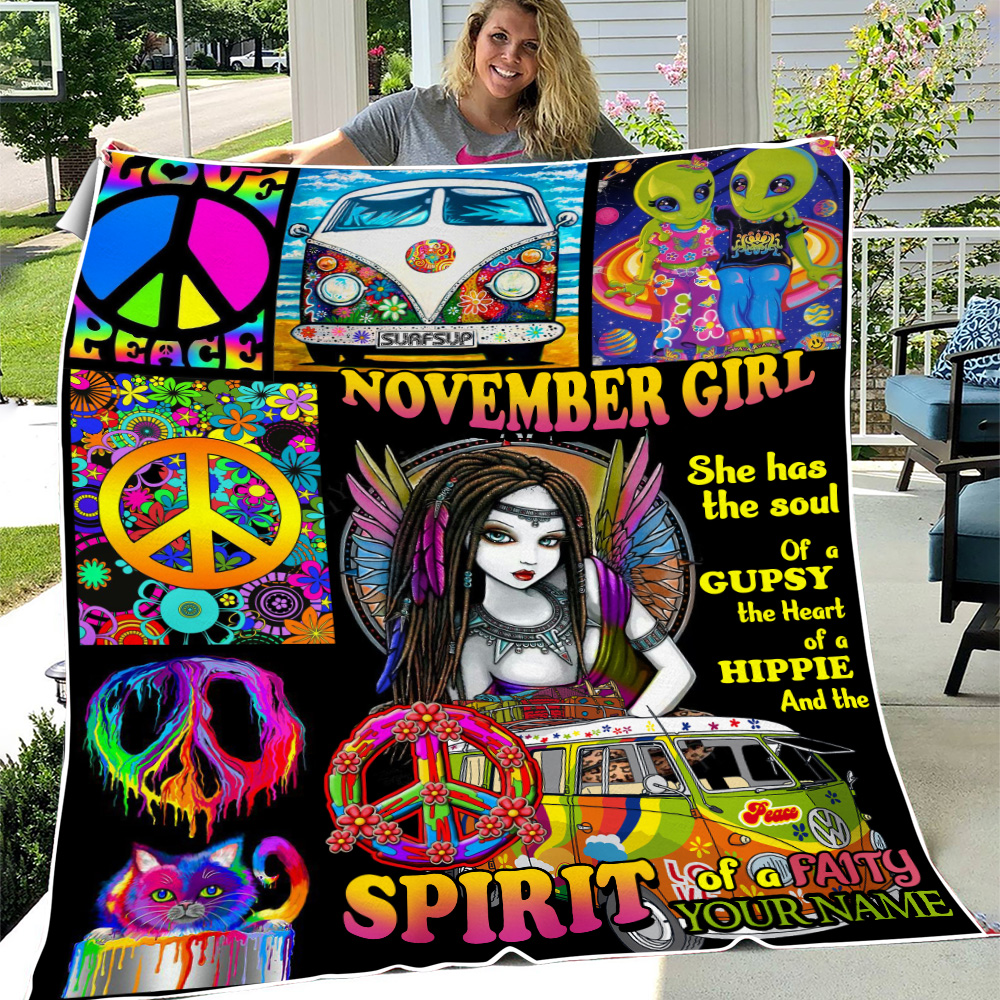 Personalized Fleece Throw Blanket November Girl She Has The Soul , The Heart And The Spirit Of A Fairy Pattern 2 Lightweight Super Soft Cozy For Decorative Couch Sofa Bed