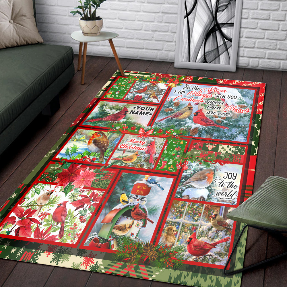 Personalized Floor Area Rugs 'Tis The Season I'm Always With You Pattern 2 Indoor Home Decor Carpets Suitable For Children Living Room Bedroom Birthday Christmas Aniversary