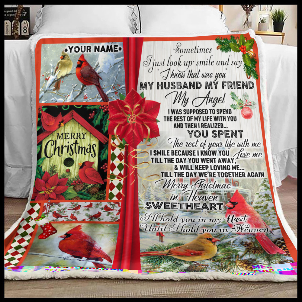 Personalized Fleece Throw Blanket My Husband My Friend My Angel Merry Christmas In Heaven Sweetheart Pattern 2 Lightweight Super Soft Cozy For Decorative Couch Sofa Bed