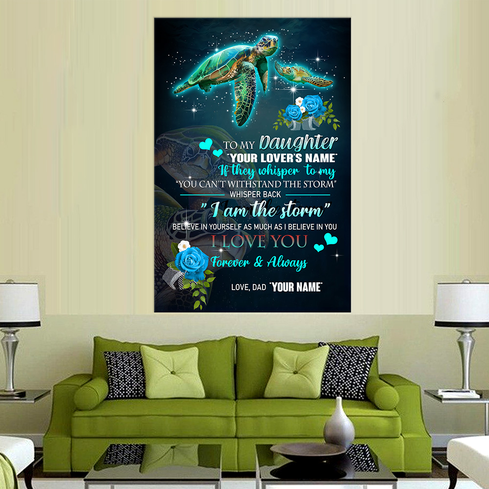 Personalized Wall Art Poster Canvas 1 Panel To My Daughter I Love You Forever & Always Great Idea For Living Home Decorations Birthday Christmas Aniversary