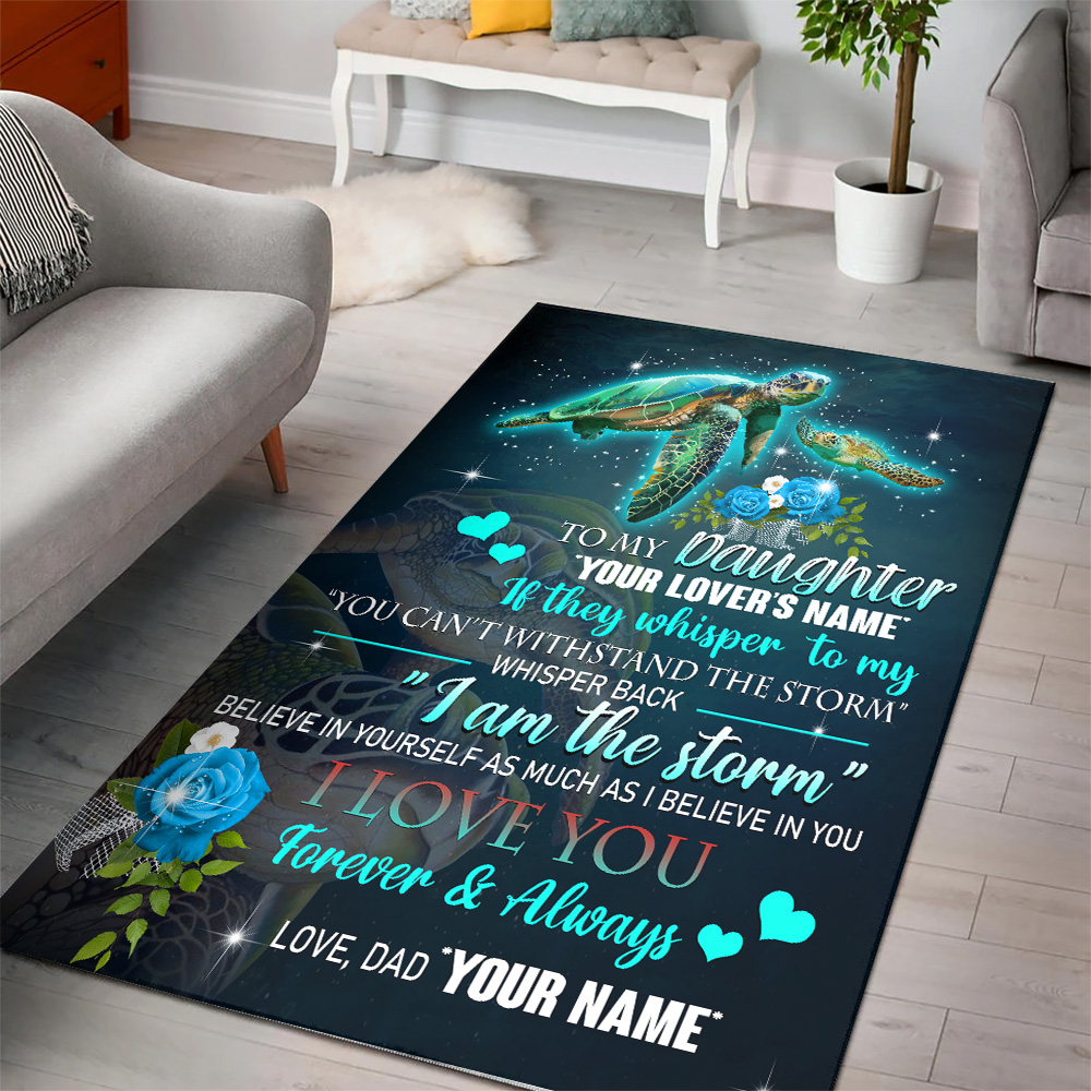 Personalized Floor Area Rugs To My Daughter I Love You Forever & Always Indoor Home Decor Carpets Suitable For Children Living Room Bedroom Birthday Christmas Aniversary