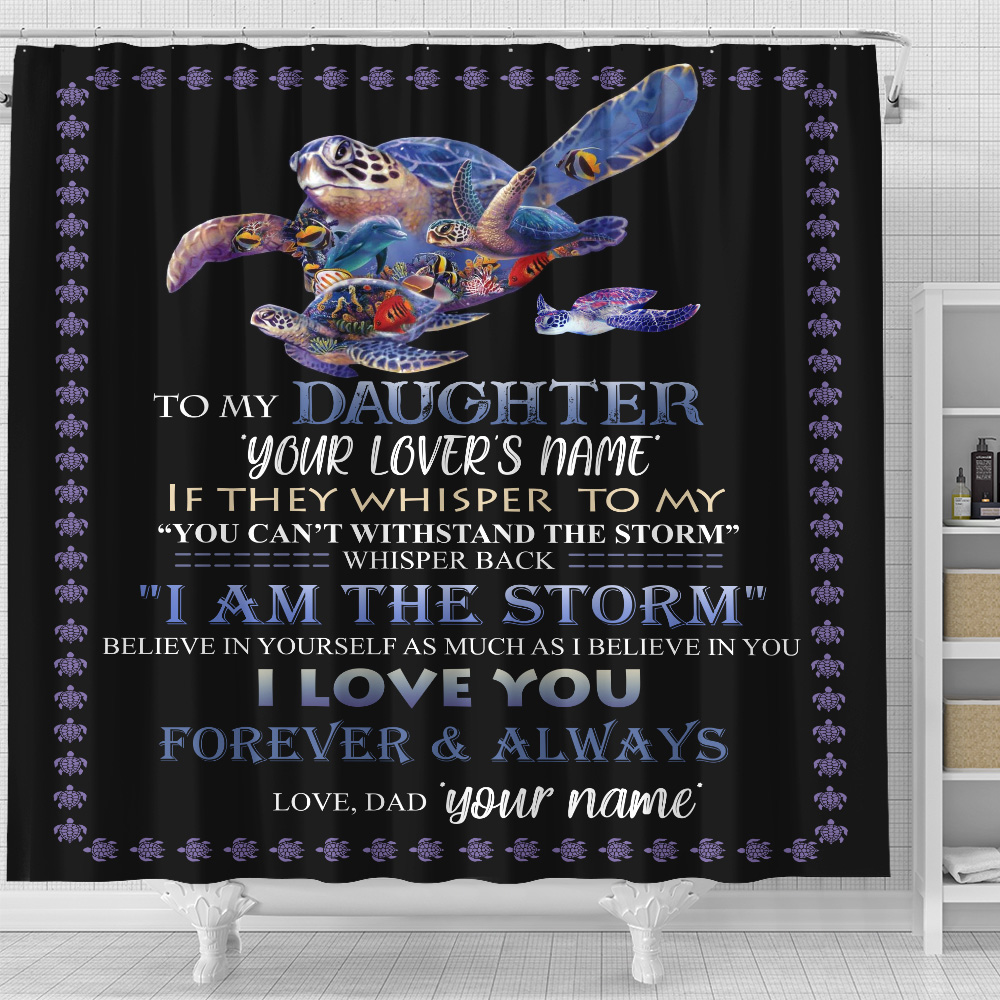 Personalized Shower Curtain 71 X 71 Inch To My Daughter I Love You Forever & Always Set 12 Hooks Decorative Bath Modern Bathroom Accessories Machine Washable