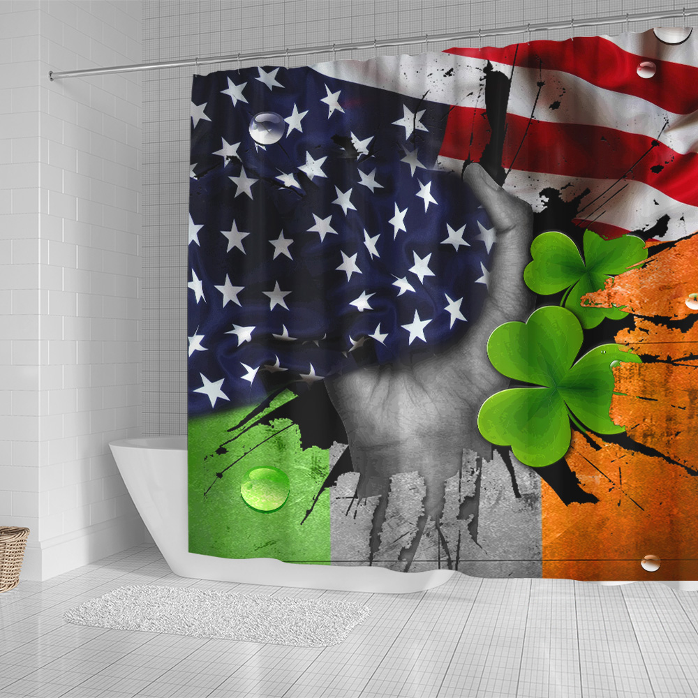 Personalized Lovely Shower Curtain St Patrick's Day Shamrock It'S Not A Party Until The Irish Show Up Pattern 1 Set 12 Hooks Decorative Bath Modern Bathroom Accessories Machine Washable