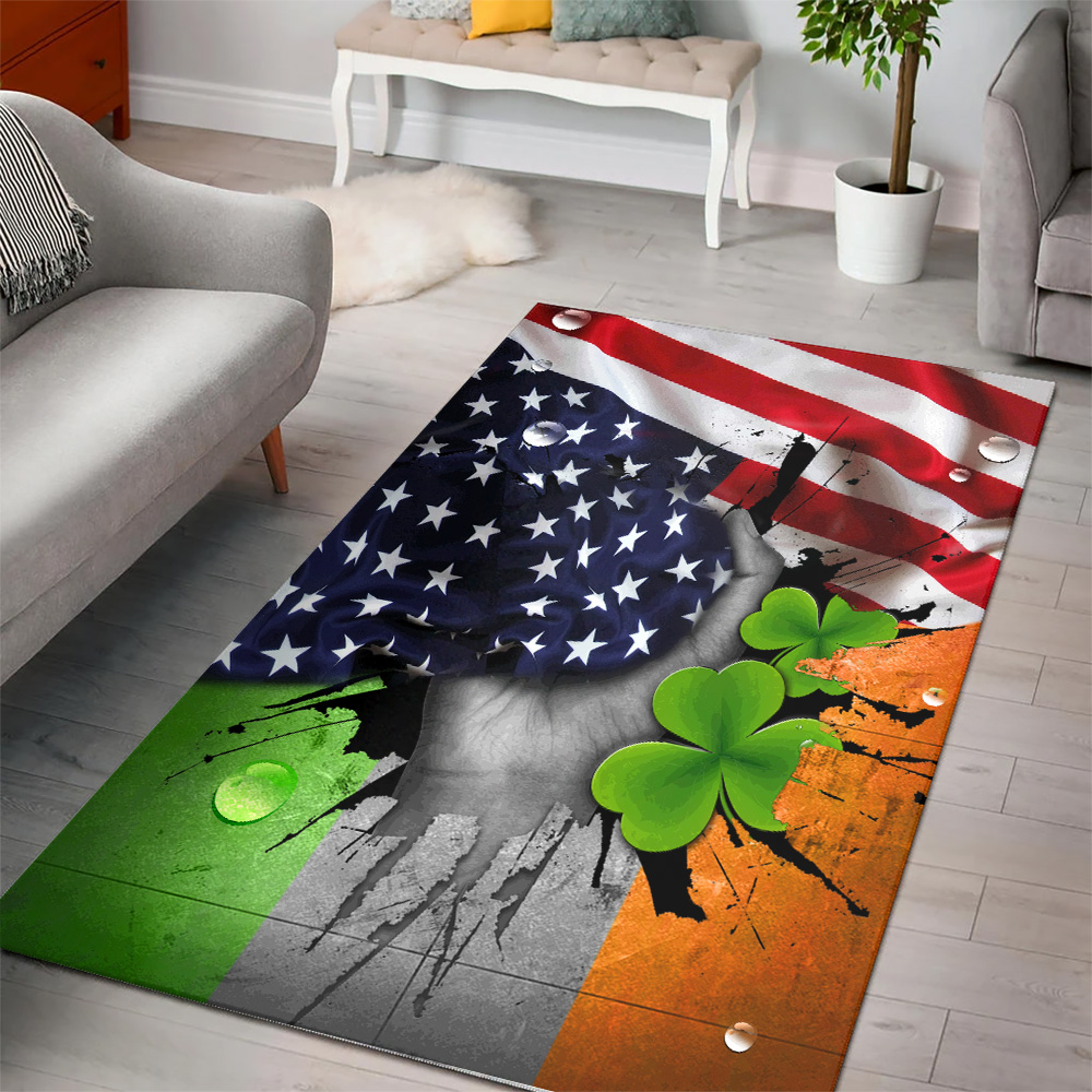 Personalized Lovely St Patrick's Day Shamrock It'S Not A Party Until The Irish Show Up  Pattern 1 Vintage Area Rug Anti-Skid Floor Carpet For Living Room Dinning Room Bedroom Office