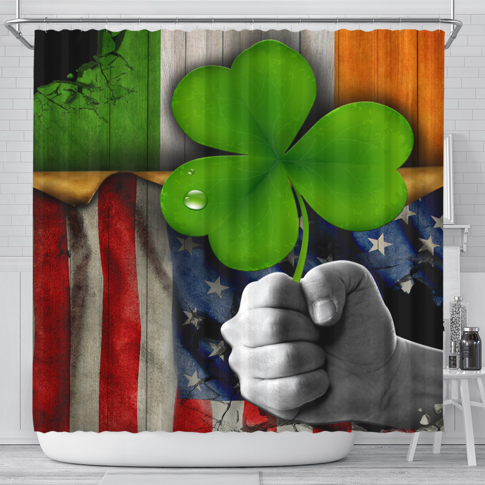 Personalized Lovely Shower Curtain St Patrick's Day Shamrock It'S Not A Party Until The Irish Show Up  Pattern 2 Set 12 Hooks Decorative Bath Modern Bathroom Accessories Machine Washable