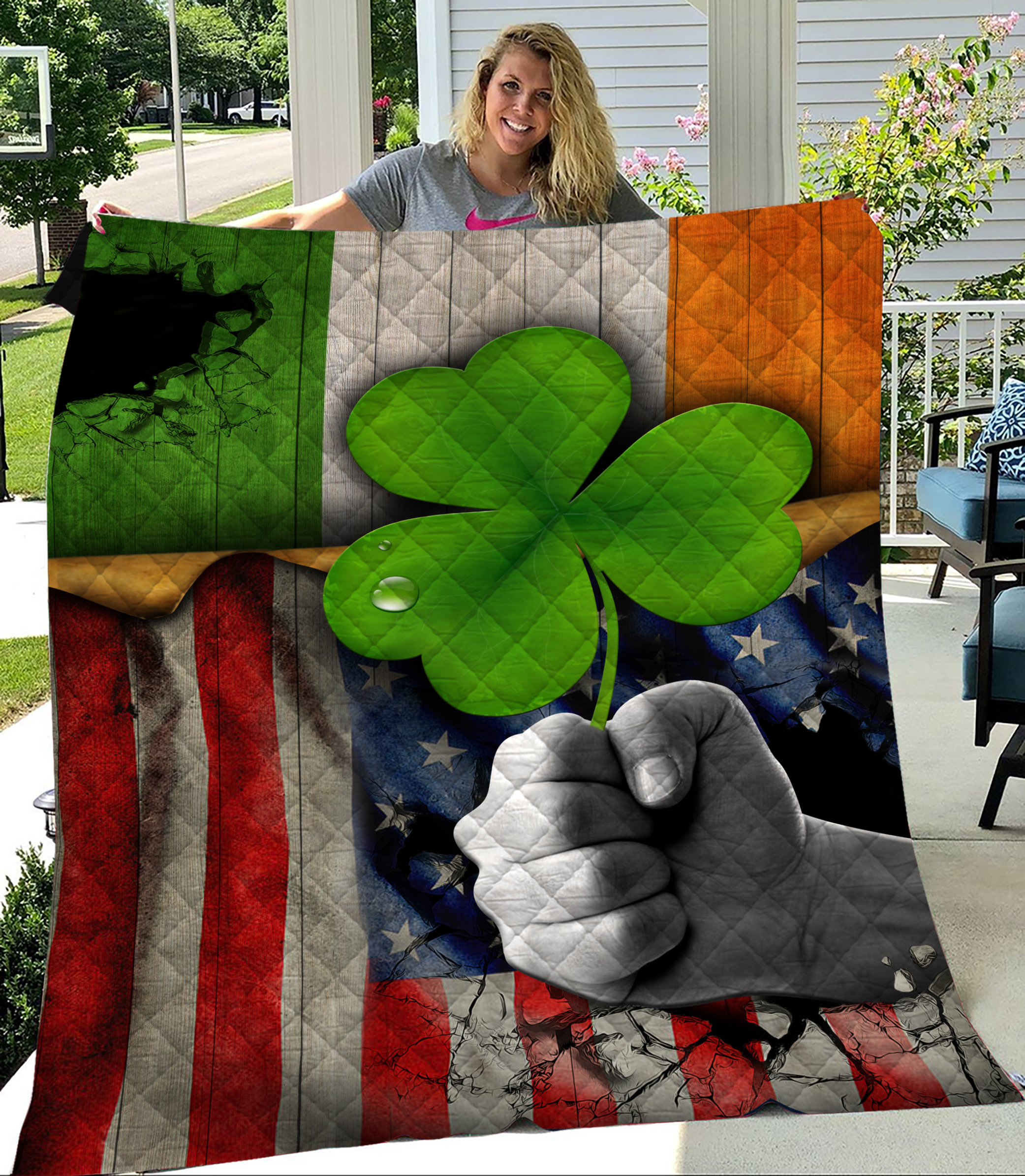 Personalized Lovely Quilt Throw Blanket St Patrick's Day Shamrock It'S Not A Party Until The Irish Show Up Pattern 2 Lightweight Super Soft Cozy For Decorative Couch Sofa Bed