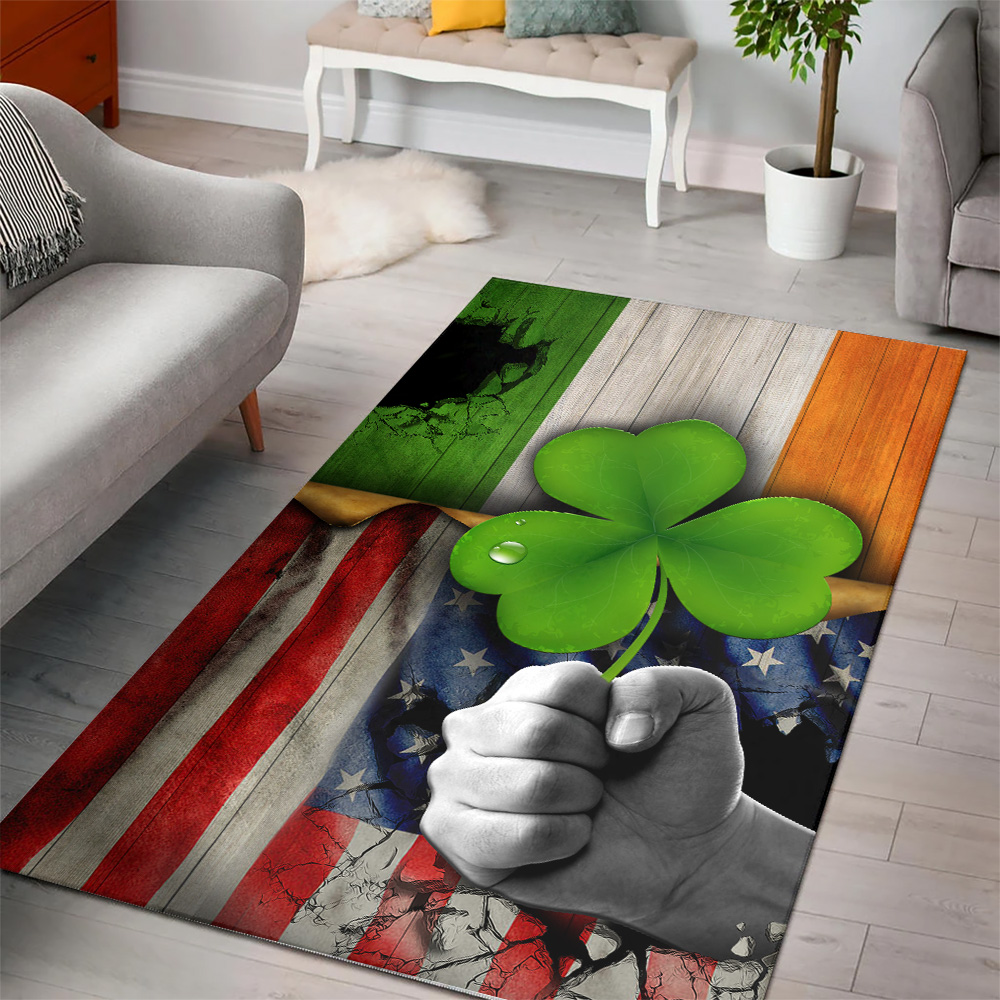 Personalized Lovely St Patrick's Day Shamrock It'S Not A Party Until The Irish Show Up Pattern 2 Vintage Area Rug Anti-Skid Floor Carpet For Living Room Dinning Room Bedroom Office