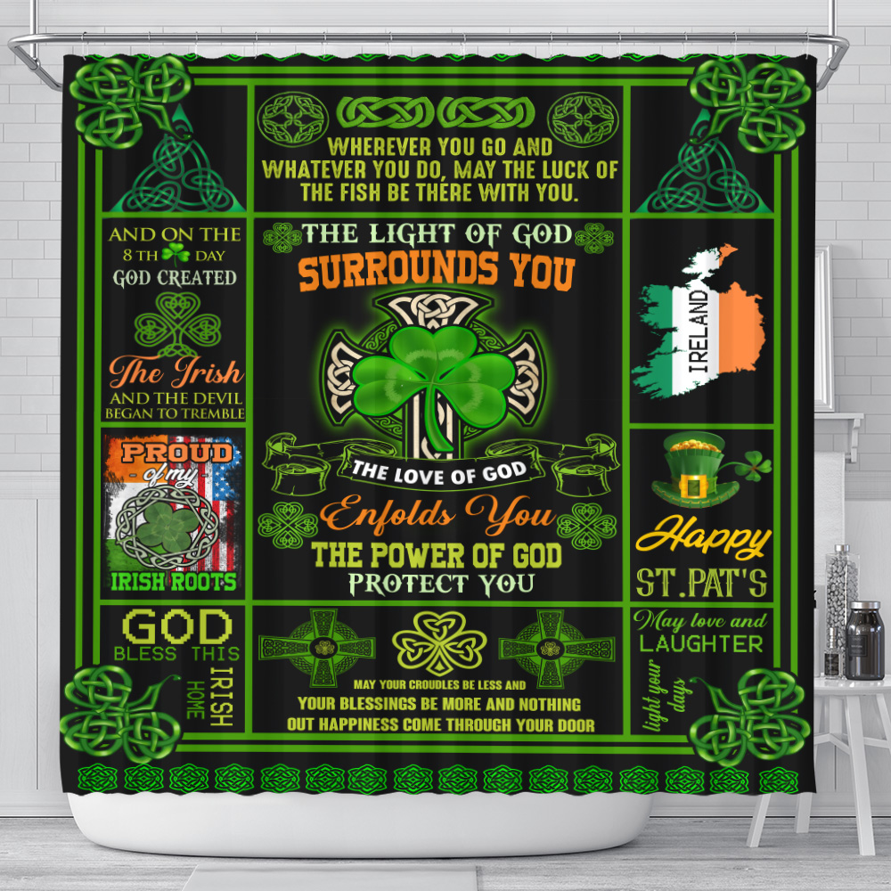 Personalized Lovely Shower Curtain St Patrick's Day Irish The Light Of God Surrounds You Pattern 1 Set 12 Hooks Decorative Bath Modern Bathroom Accessories Machine Washable