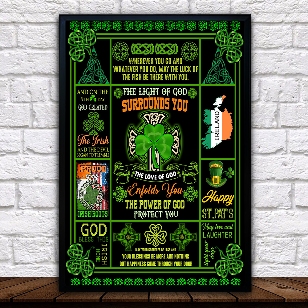 Personalized Lovely Wall Art Poster St Patrick's Day Irish The Light Of God Surrounds You Pattern 1 Prints Decoracion Wall Art Picture Living Room Wall