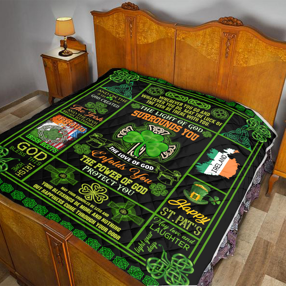 Personalized Lovely Quilt Throw Blanket St Patrick's Day Irish The Light Of God Surrounds You Pattern 1 Lightweight Super Soft Cozy For Decorative Couch Sofa Bed