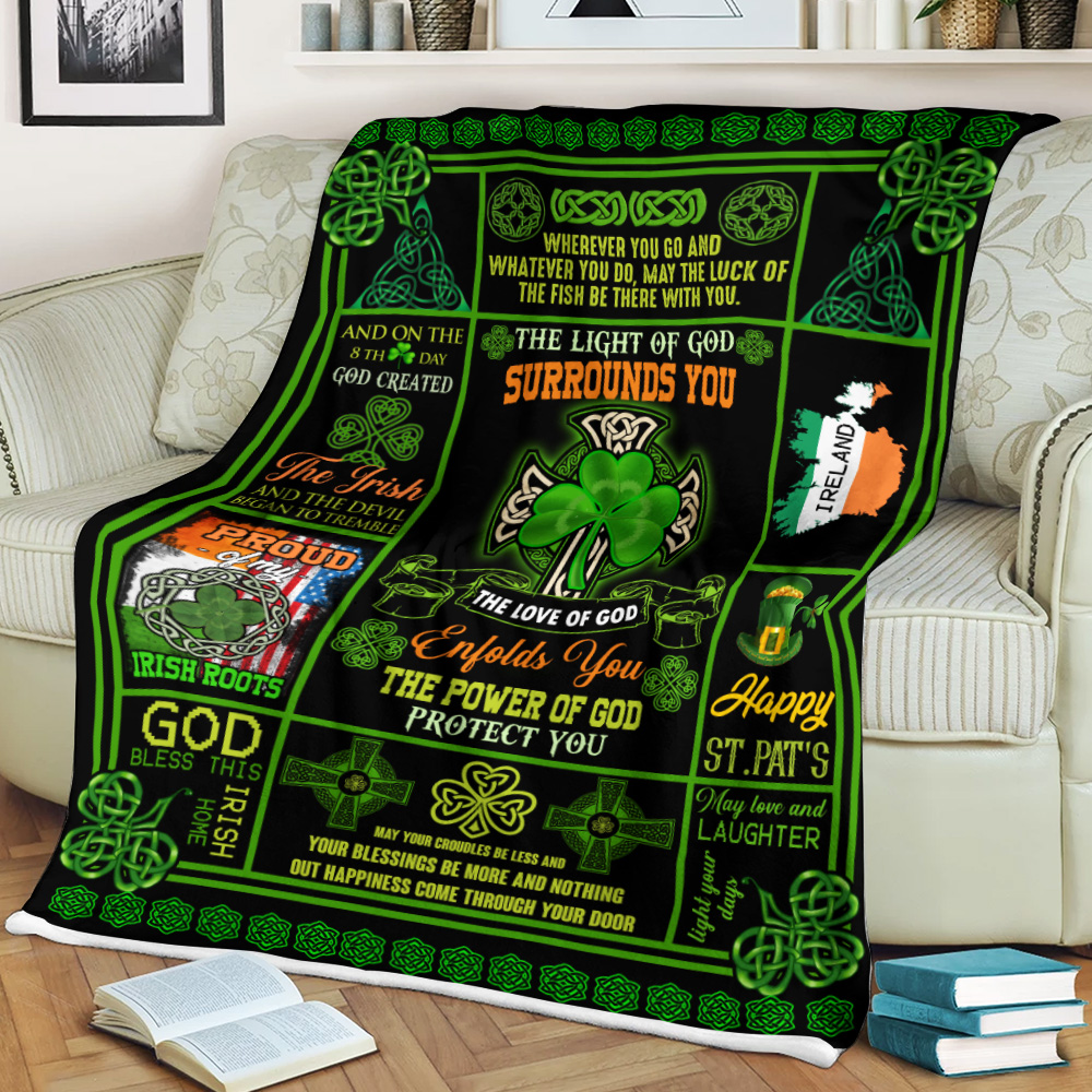 Personalized Lovely Fleece Throw Blanket St Patrick's Day Irish The Light Of God Surrounds You Pattern 1 Lightweight Super Soft Cozy For Decorative Couch Sofa Bed
