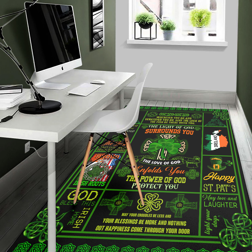 Personalized Lovely St Patrick's Day Irish The Light Of God Surrounds You Pattern 1 Vintage Area Rug Anti-Skid Floor Carpet For Living Room Dinning Room Bedroom Office