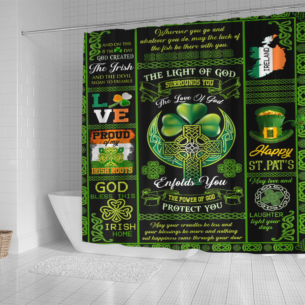 Personalized Lovely Shower Curtain St Patrick's Day Irish The Light Of God Surrounds You  Pattern 2 Set 12 Hooks Decorative Bath Modern Bathroom Accessories Machine Washable