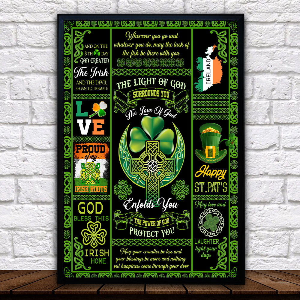 Personalized Lovely Wall Art Poster St Patrick's Day Irish The Light Of God Surrounds You Pattern 2 Prints Decoracion Wall Art Picture Living Room Wall
