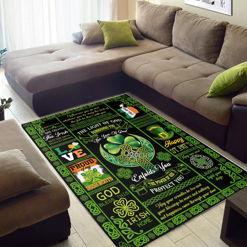 Personalized Lovely St Patrick's Day Irish The Light Of God Surrounds You Pattern 2 Vintage Area Rug Anti-Skid Floor Carpet For Living Room Dinning Room Bedroom Office