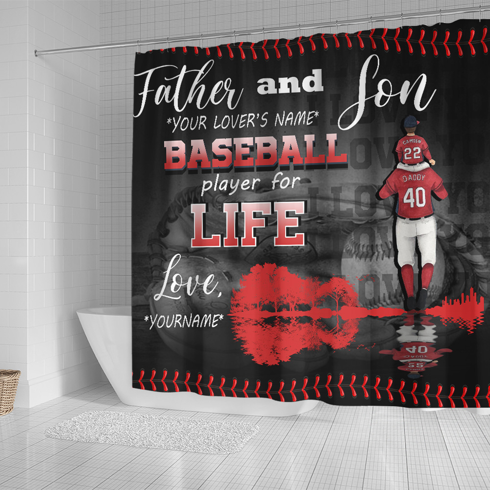 Personalized Shower Curtain 71 X 71 Inch Father And Son Baseball Player For Life Pattern 1 Set 12 Hooks Decorative Bath Modern Bathroom Accessories Machine Washable