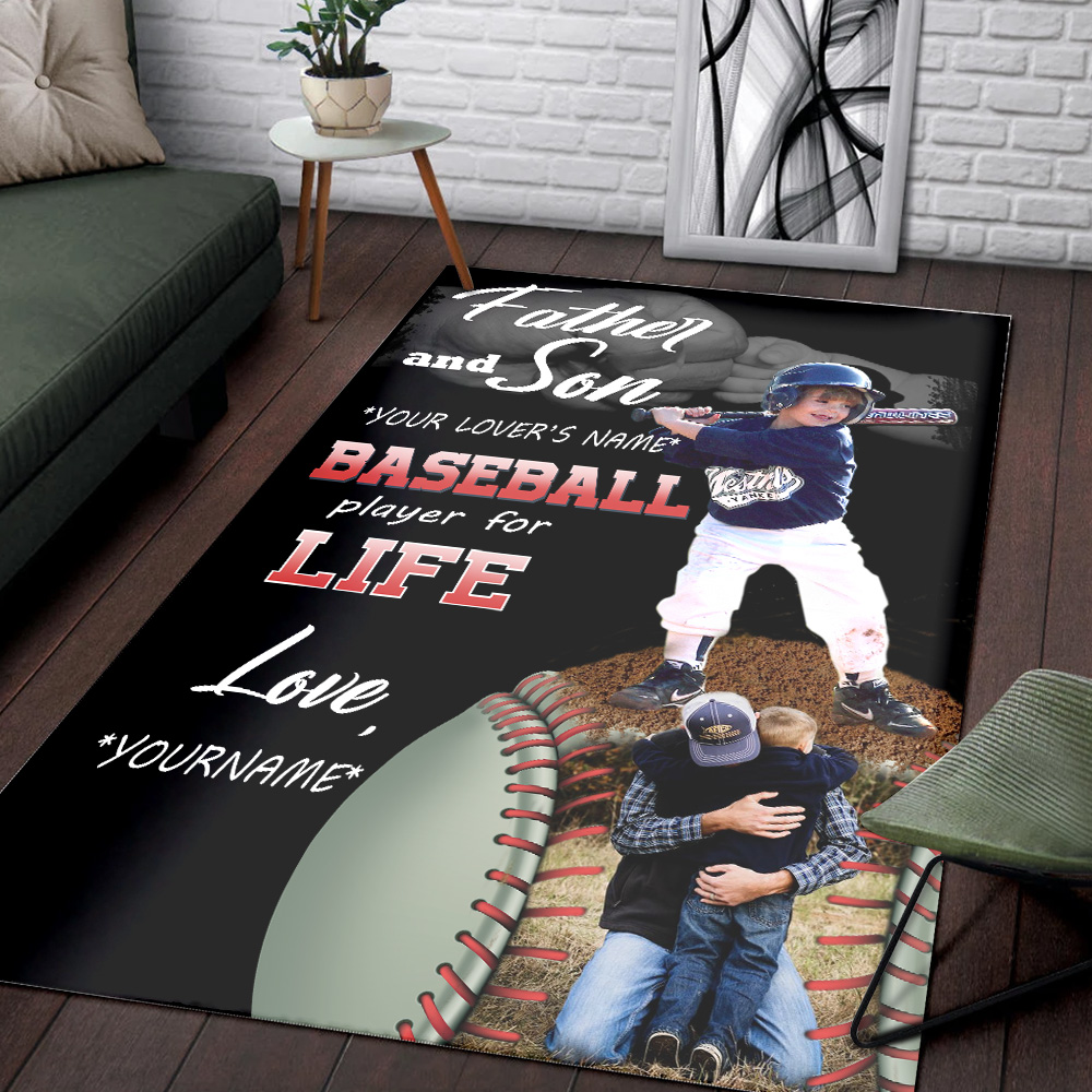 Personalized Floor Area Rugs Father And Son Baseball Player For Life Pattern 2 Indoor Home Decor Carpets Suitable For Children Living Room Bedroom Birthday Christmas Aniversary