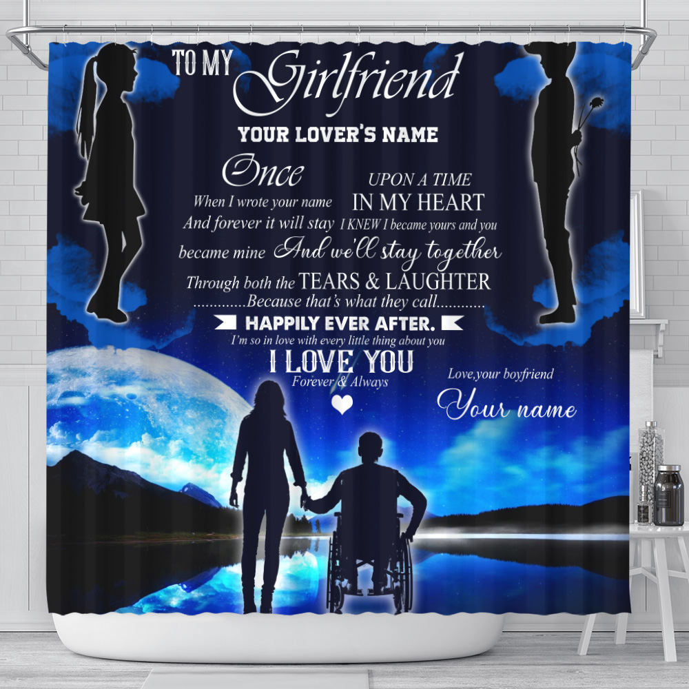 Personalized Lovely Shower Curtain To My Girlfriend We'll Stay Together Pattern 1 Set 12 Hooks Decorative Bath Modern Bathroom Accessories Machine Washable