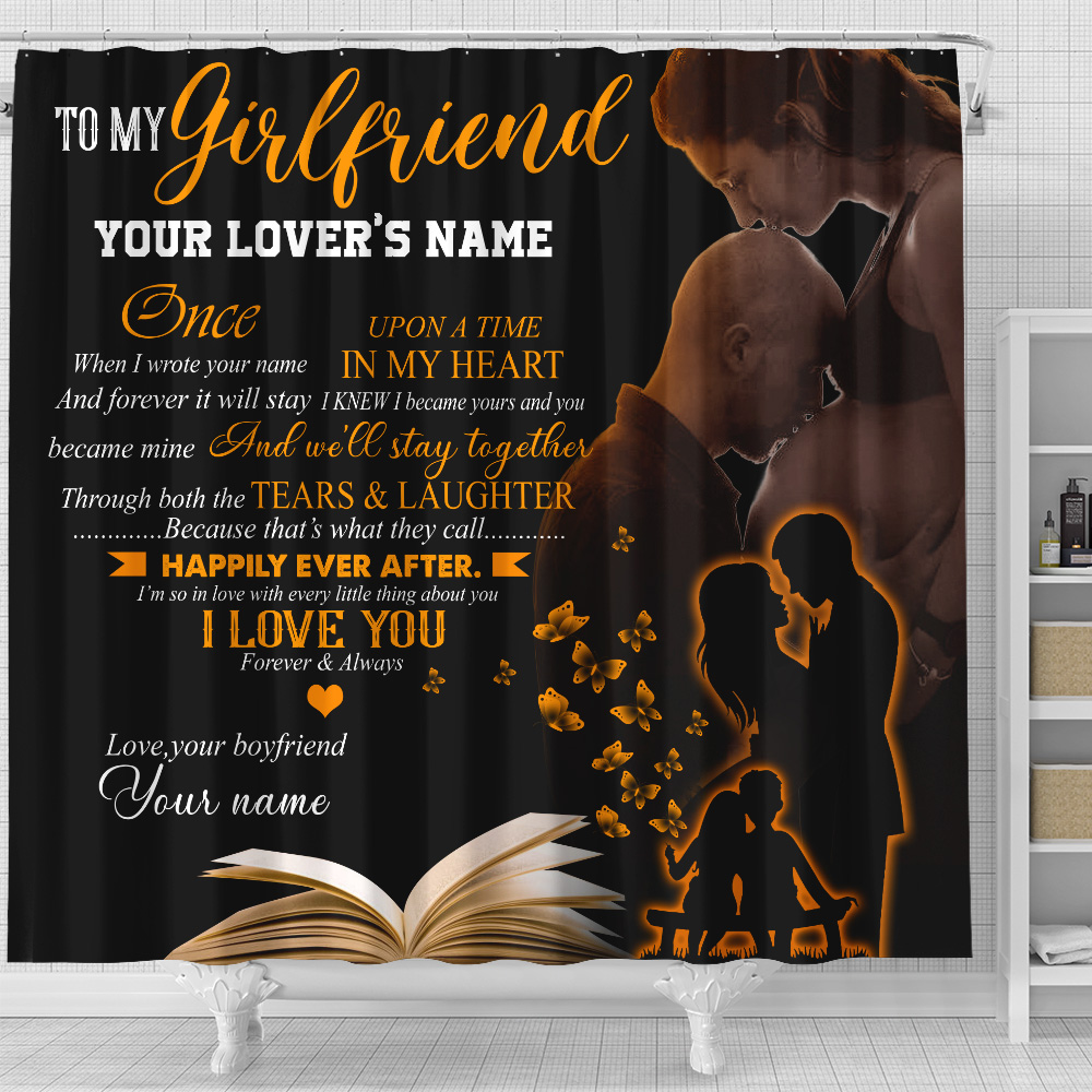 Personalized Lovely Shower Curtain To My Girlfriend We'll Stay Together Pattern 2 Set 12 Hooks Decorative Bath Modern Bathroom Accessories Machine Washable