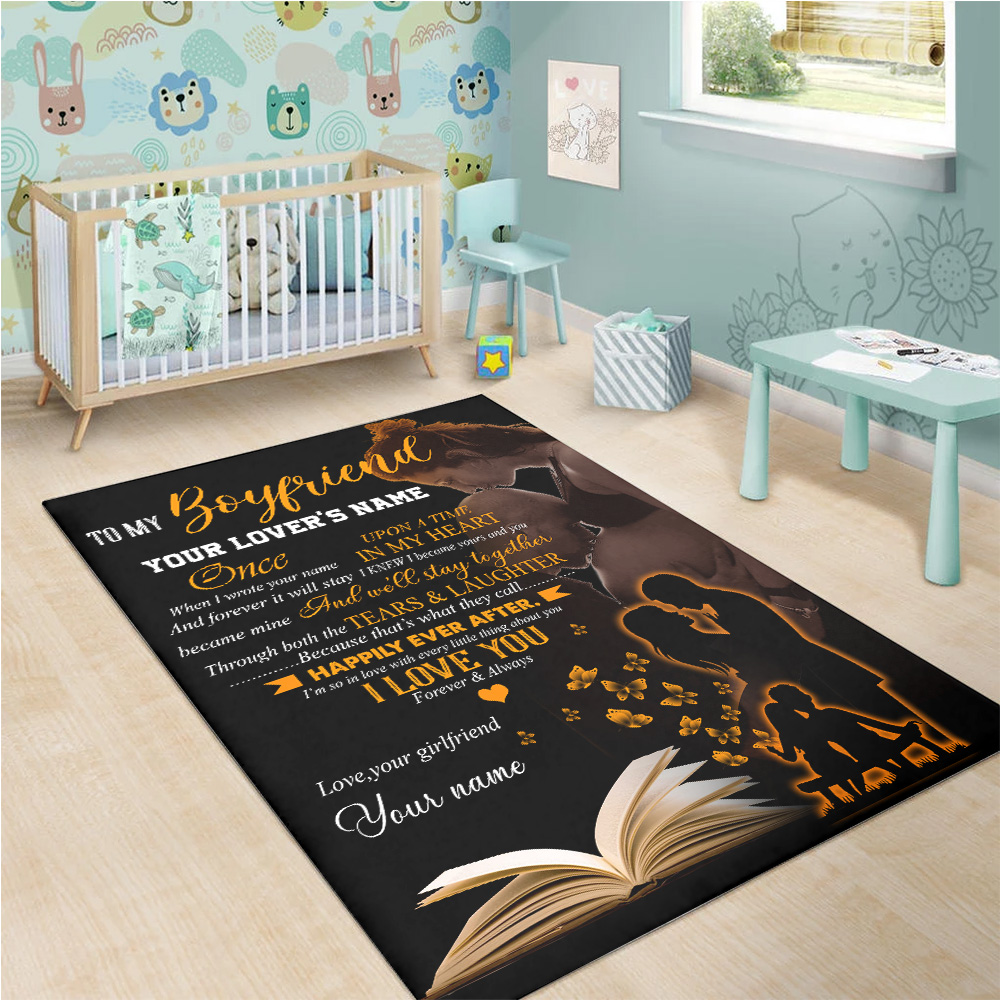 Personalized Lovely To My Boyfriend We'll Stay Together Pattern 2 Vintage Area Rug Anti-Skid Floor Carpet For Living Room Dinning Room Bedroom Office