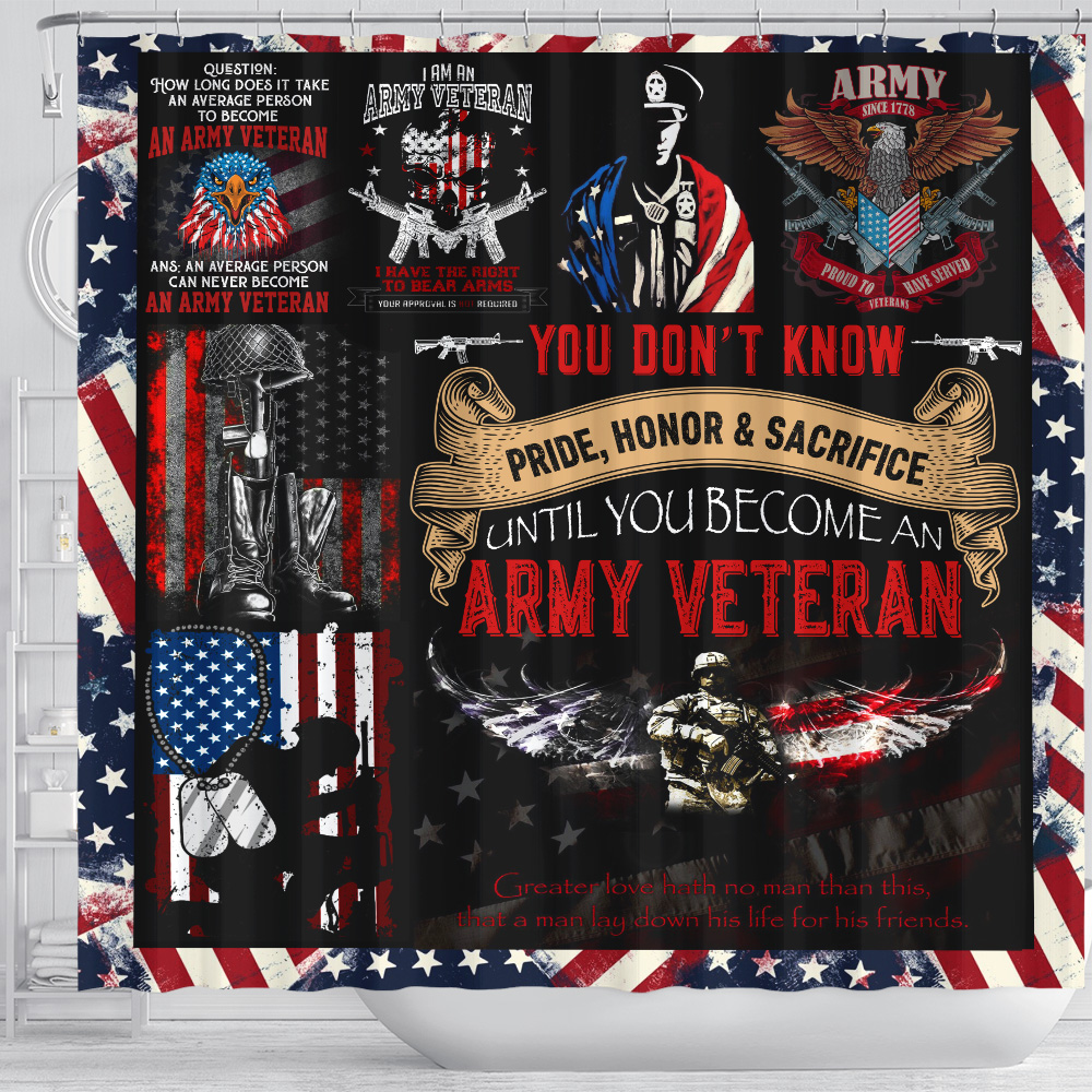 Personalized Shower Curtain 71 X 71 Inch I Am An Army Veteran Pattern 1 Set 12 Hooks Decorative Bath Modern Bathroom Accessories Machine Washable