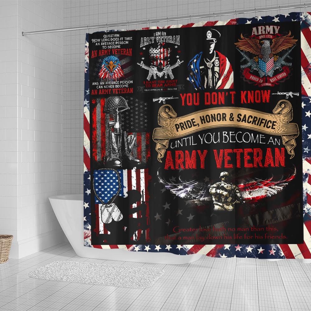 Personalized Shower Curtain 71 X 71 Inch I Am An Army Veteran Pattern 1 Set 12 Hooks Decorative Bath Modern Bathroom Accessories Machine Washable