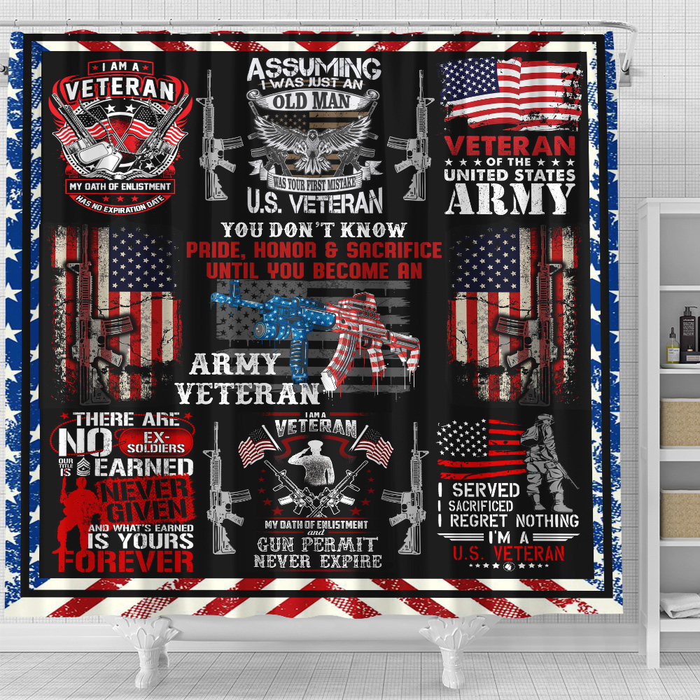 Personalized Shower Curtain 71 X 71 Inch I Am An Army Veteran Pattern 2 Set 12 Hooks Decorative Bath Modern Bathroom Accessories Machine Washable