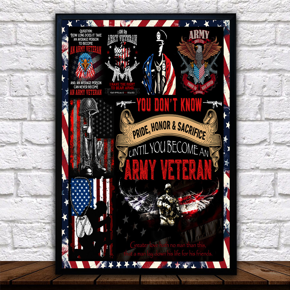 Personalized Wall Art Poster Canvas 1 Panel I Am An Army Veteran Pattern 1 Great Idea For Living Home Decorations Birthday Christmas Aniversary