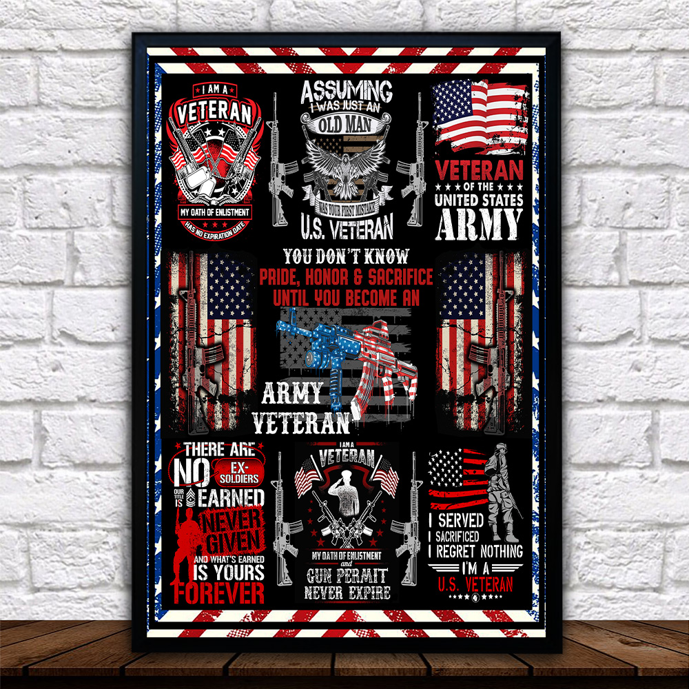Personalized Wall Art Poster Canvas 1 Panel I Am An Army Veteran Pattern 2 Great Idea For Living Home Decorations Birthday Christmas Aniversary