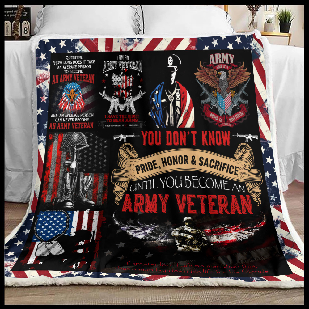 Personalized Fleece Throw Blanket I Am An Army Veteran Pattern 1 Lightweight Super Soft Cozy For Decorative Couch Sofa Bed