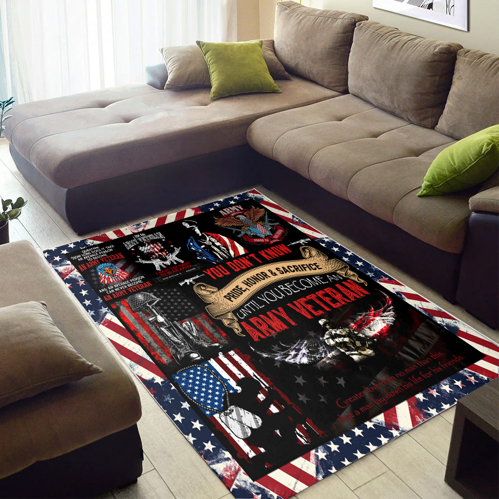 Personalized Floor Area Rugs I Am An Army Veteran Pattern 1 Indoor Home Decor Carpets Suitable For Children Living Room Bedroom Birthday Christmas Aniversary