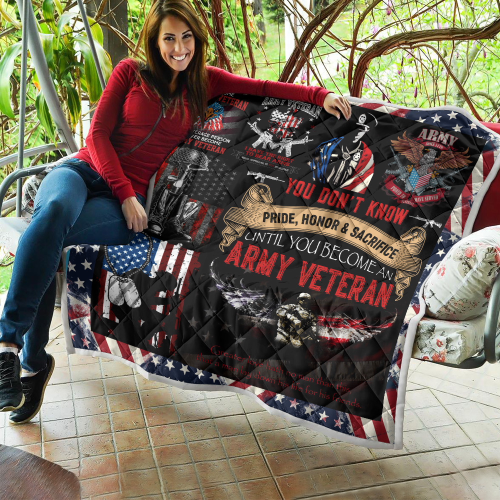 Personalized Quilt Throw Blanket I Am An Army Veteran Pattern 1 Lightweight Super Soft Cozy For Decorative Couch Sofa Bed