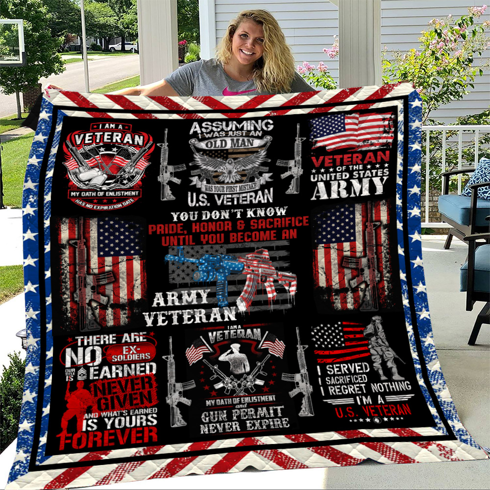 Personalized Quilt Throw Blanket I Am An Army Veteran Pattern 2 Lightweight Super Soft Cozy For Decorative Couch Sofa Bed