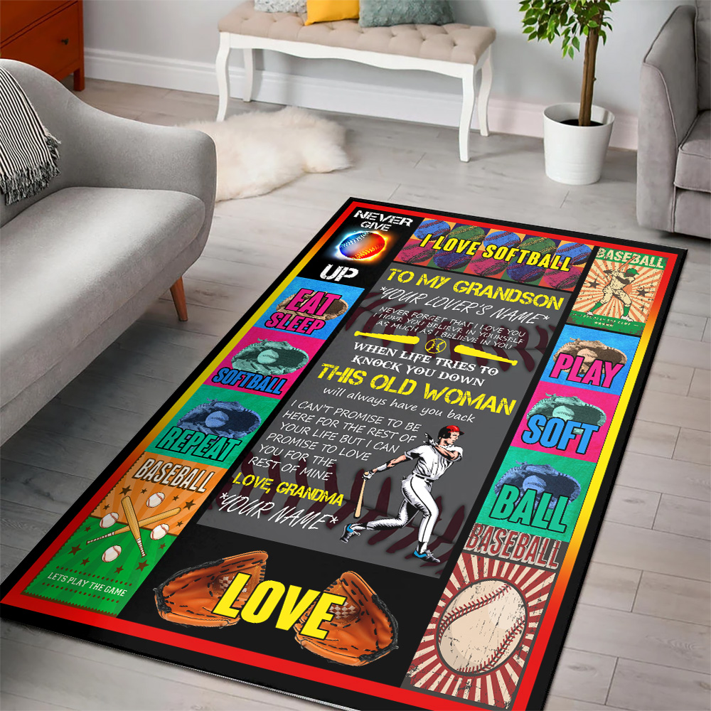 Personalized Floor Area Rugs To My Baseball Grandson This Old Woman Will Always Have Your Back Indoor Home Decor Carpets Suitable For Children Living Room Bedroom Birthday Christmas Aniversary