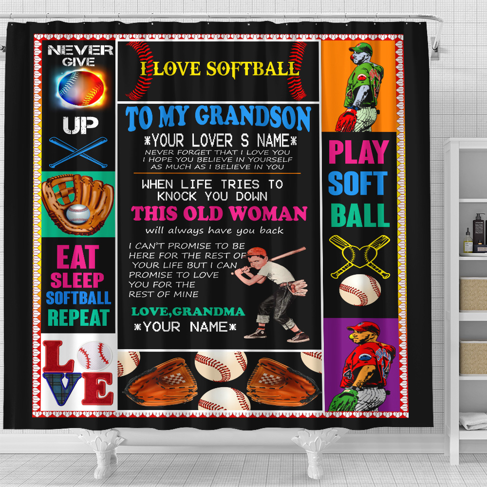 Personalized Shower Curtain 71 X 71 Inch To My Baseball Grandson This Old Woman Will Always Have Your Back Set 12 Hooks Decorative Bath Modern Bathroom Accessories Machine Washable