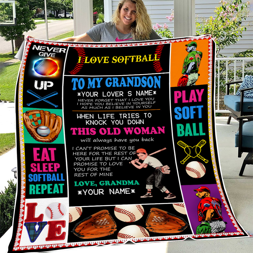 Personalized Fleece Throw Blanket To My Baseball Grandson This Old Woman Will Always Have Your Back Lightweight Super Soft Cozy For Decorative Couch Sofa Bed