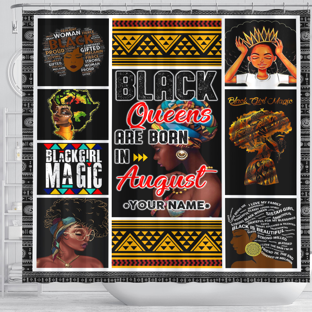 Personalized Shower Curtain Black Queens Are Born In August Pattern 1 Set 12 Hooks Decorative Bath Modern Bathroom Accessories Machine Washable