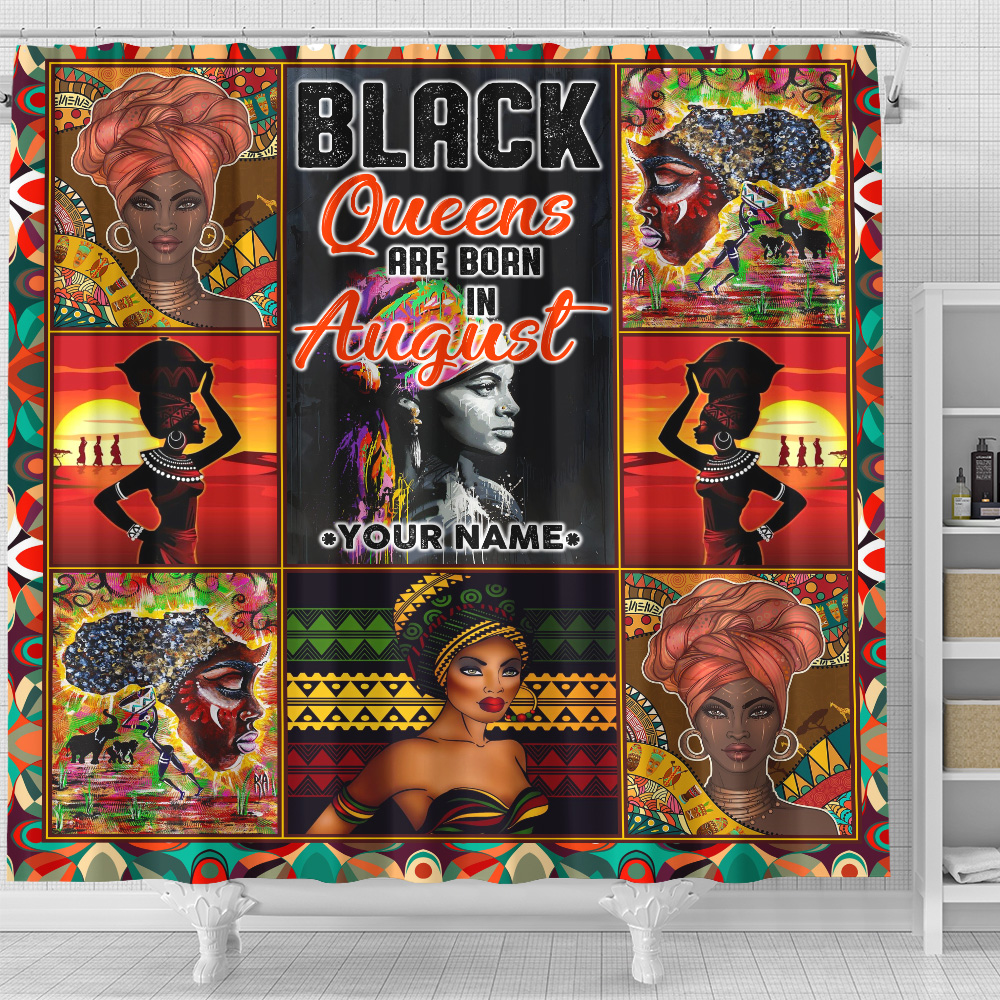 Personalized Shower Curtain Black Queens Are Born In August Pattern 2 Set 12 Hooks Decorative Bath Modern Bathroom Accessories Machine Washable