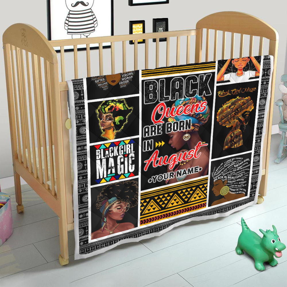 Personalized Quilt Throw Blanket Black Queens Are Born In August Pattern 1 Lightweight Super Soft Cozy For Decorative Couch Sofa Bed