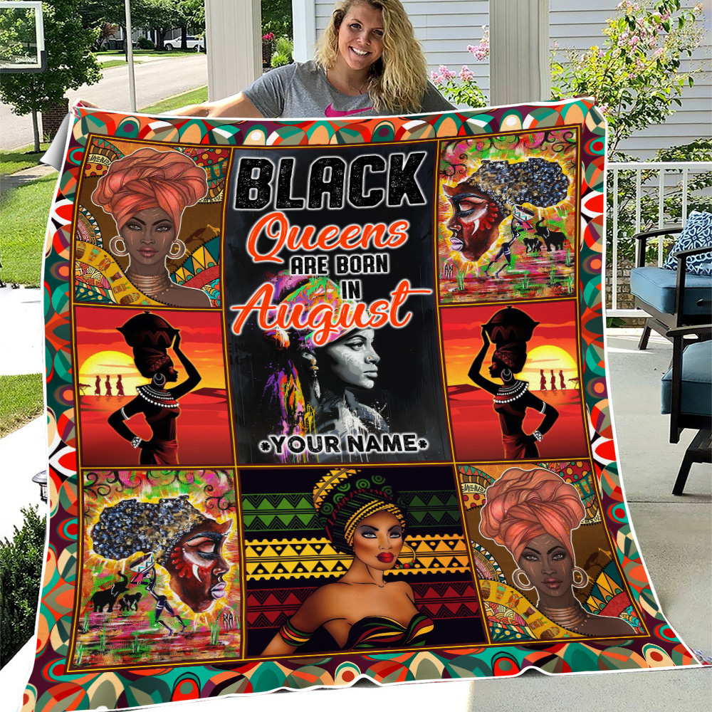 Personalized Fleece Throw Blanket Black Queens Are Born In August Pattern 2 Lightweight Super Soft Cozy For Decorative Couch Sofa Bed