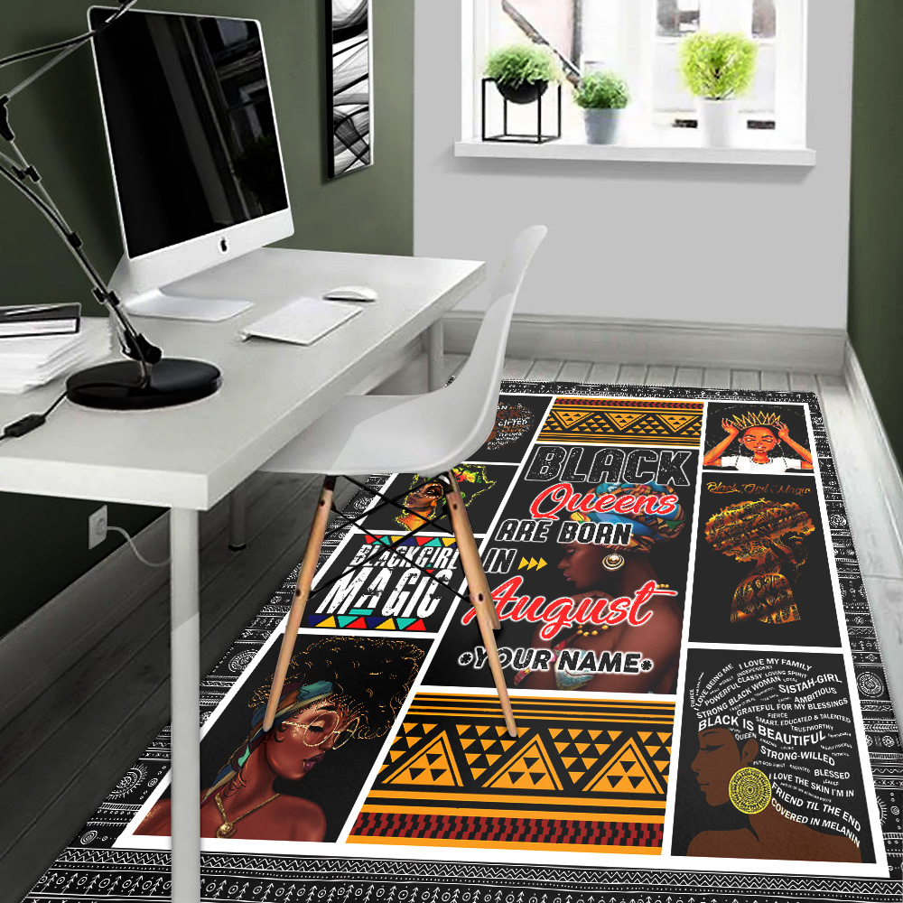 Personalized Black Queens Are Born In August Pattern 1 Vintage Area Rug Anti-Skid Floor Carpet For Living Room Dinning Room Bedroom Office