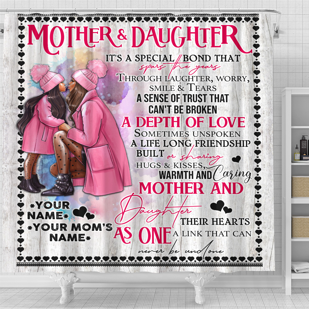 Personalized Lovely Shower Curtain To My Mom From Daughter A Depth Of Love Pattern 1 Set 12 Hooks Decorative Bath Modern Bathroom Accessories Machine Washable