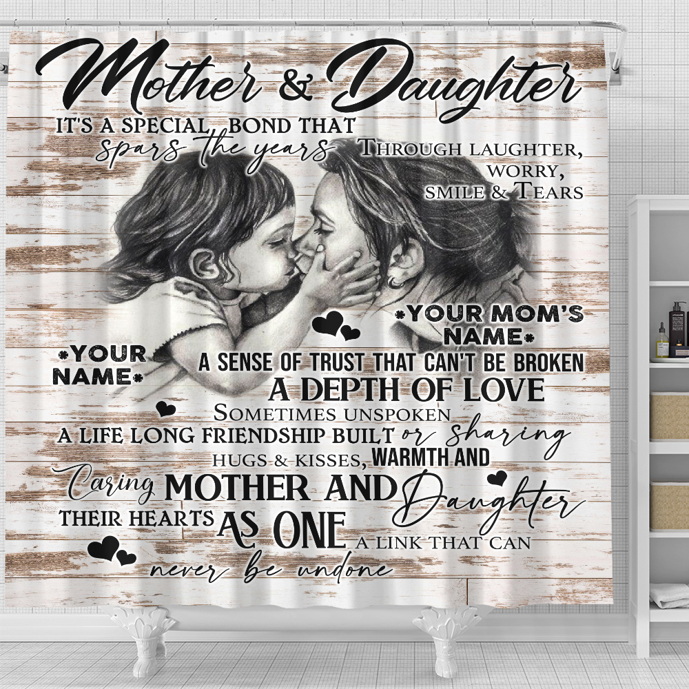 Personalized Lovely Shower Curtain To My Mom From Daughter A Depth Of Love Pattern 2 Set 12 Hooks Decorative Bath Modern Bathroom Accessories Machine Washable
